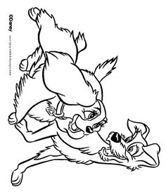Lady And The Tramp Color Page Disney Coloring Pages Plate Sheet