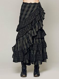 By Nicholas K for Free People, Plaid gingham wrap skirt with tiered ruffles!