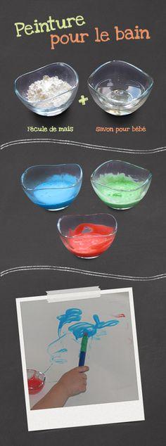 Activité éducative, recette de peinture pour le bain pour enfants. Craft Activities For Kids, Infant Activities, Games For Kids, Diy For Kids, Crafts For Kids, Diy Art Projects, Craft Sale, Summer Kids, Kids Playing