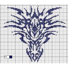 Schéma gratuit, Tête de dragon tribal » Point de croix - Loisirs créatifs et activités manuelles