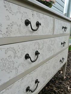 A gorgeous dresser painted and block printed in Chalk Paint® decorative paint by Annie Sloan | By Lilibindi