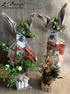 "March 22, 23 or 24 ""Gardening Bunnies"" Sharon Culver ""Meet 'Benny' and 'Bernice', an adorable pair of bunnies ready to start their spring gardening chores! Standing approx. 12"" tall to the tips of their burlap ears 'Benny' has his bag of carrot seeds and little bird house ready to go.  'Bernice'  is ready too, with her watering can and pot of flowers!  *Please specify which you prefer at sign up.  (Cost $18.00 each or do both for $34.00+tax)"