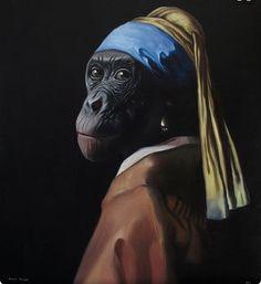 "Parody ""Vermeer monkey"" by Daniel Sueiras. Girl With Pearl Earring, Pearl Earing, Johannes Vermeer, Dog Harness, Photomontage, Art Plastique, Pet Clothes, Art Fair, Medium Art"