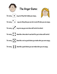 The Anger Game - Used with one dice and helpful for kids working on controlling anger