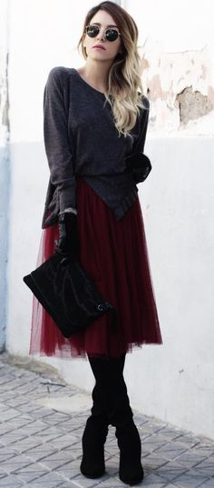 #winter #fashion //  Dark Asymetric Knit // Burgundy Skirt // Black Suede Over The Knee Boots // Velvet Clutch
