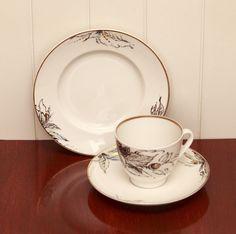 Vintage Lomonosov ЛФЗ LFZ USSR Porcelain Cup, Saucer & Plate