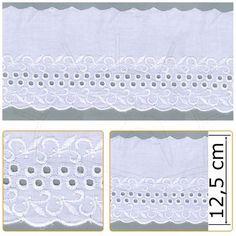 Bordado Inglês BP032 Branco Peça com 13,7m de Comprimento e Aproximadamente 12,5 cm de Largura Composição: 80% Poliéster, 20% Algodão Fabricante: Arte Punto