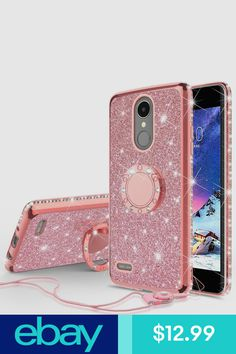Glitter Cute Phone Case with Kickstand Compatible for LG Rebel 3 LTE Case,LG Aristo Case,LG Phoenix Fortune Case Bling Diamond Rhinestone Bumper Ring Stand Sparkly Clear Thin Soft Girls Women Girl Phone Cases, Bling Phone Cases, Glitter Phone Cases, Cute Phone Cases, Iphone Cases, Lg Cases, Walpaper Black, Lg Phone, Ring Stand