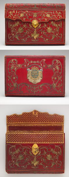 Briefcase (portefuille)[Front, back and front with flap open], 1763-1764. Turkish and French. Red Morocco leather embroidered with gold thread and silk, fitted gold lock, lined with green silk; gold. The Met.