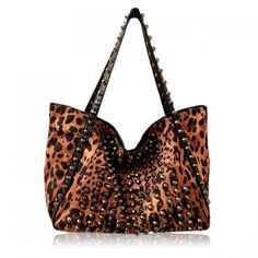 32.19$  Watch here - http://di4k5.justgood.pw/go.php?t=YG0496501 - Fashion Leopard Print and Rivets Design Shoulder Bag For Women