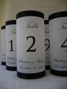Table Number Luminaries with Names and by SouthernBellWeddings, $6.00