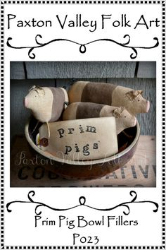 Epattern Prim Pig Bowl Fillers Instant Download Pattern Primitive Rustic Farmhouse Home Decor To Sew Pig Bowl Fillers or Cupboard Tucks