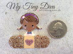 Rhinestone African American Doctor 45mm MTD custom designed pendant for bubblegum chunky beads necklaces