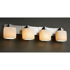 Justice Design Group Limoges Modular Four-Light Brushed Nickel Bath Fixture by Justice Design Group. $340.20. - This fixture can be installed as an uplight or downlight. - Shade Detail - Checkerboard - Shade Material - Translucent Porcelain
