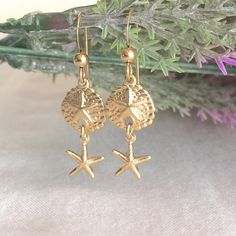 14K Gold Filled Sand Dollar Starfish Earring by StampedSchmuck