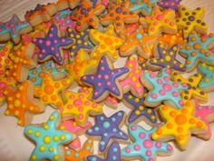Mini Colorful Starfish Decorated Sugar Cookies- 5 Dozen (60) Cookies. $38.00, via Etsy.