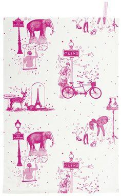 tea towel toile de jouy neon Pink - la cerise sur le gateau
