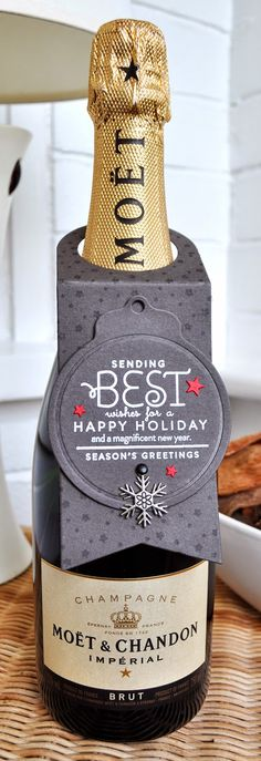 Papertrey Ink Christmas wine bottle tag by Inkyfingered Carol