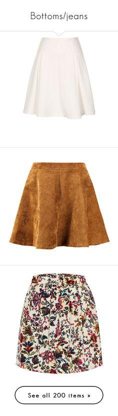 """""""Bottoms/jeans"""" by avsv ❤ liked on Polyvore featuring skirts, mini skirts, bottoms, faldas, white, white circle skirt, skater skirts, short white skirt, white skater skirt and short mini skirts"""
