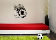 Soccerball and Net Vinyl Wall Decal Sticker Made from 10 year high quality vinyl which leaves no residue upon removal. Some decals may come in multiple pieces due to the size of the design. Measures 2