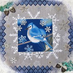 I stamped white ink in the corners to look like a frosted window and added glitter on top. Pine Branch, Blue Jay, White Ink, Snowflakes, Christmas Cards, Scrapbooking, Drawings, Winter, Frame