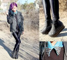 Unif Hell Seekers, O Mighty Spikey Studded Denim Shirt, Diy Spiked Leather Jacket, H Sweater
