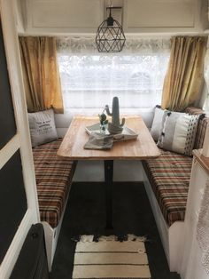 My vintage trailer! Roulotte Tabbert 3600 silver edition,1980. Vintage caravan glamping makeover. On sale in Genova, Italy €10,000. For info: Rebeccarinaldidesign@gmail.com Glamping, Caravan, Bubbles, Dining Table, Italy, Rustic, Vintage, Silver, Furniture