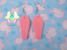 Creepy Cute Coffin Earrings  Pink
