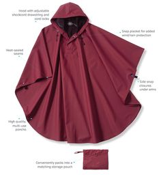 Waterproof poncho with heat sealed seams and hood with snap neck. Customize as few as 12.