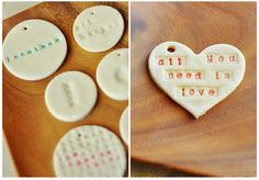 Salt dough gift tags.  1 cup salt, 2 cups flour, 1 cup warm water.  Roll out, cut with cookie cutters, use straw for hole. Rubber stamp alphabets. Air dry 3 days.