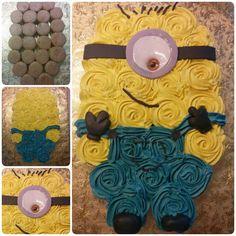 Pull Apart Minion Cupcake Cake