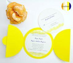 Lemon Yellow Wedding Invitations - set of round invitations. $450.00, via Etsy.