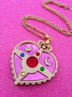 READY TO SHIP Sailor Moon Heart Moon Brooch Necklace. $32.00, via Etsy.
