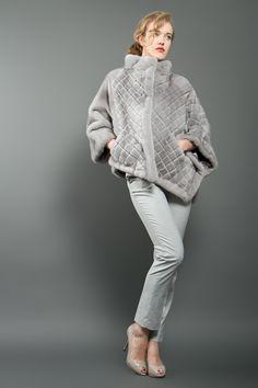 Natural Light Grey Asymmetrical Mink Fur Poncho
