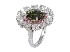 5.52ct Alexandrite And Fancy Diamond Ring | From a unique collection of vintage cluster rings at http://www.1stdibs.com/jewelry/rings/cluster-rings/