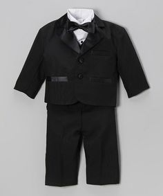 Do I see Ringbearer written all over this? This Black Tie Tuxedo Set - Toddler & Boys by Fouger for Kids is perfect! #zulilyfinds