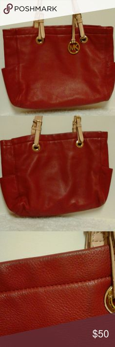 Red Michael kors bag Bag is used it may have some minor stains and scratches and scuffs and odor Michael Kors Bags Totes
