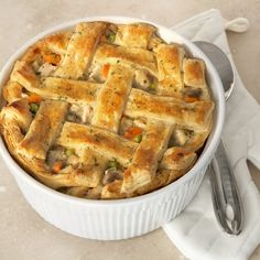 A light and flaky puff pastry crust is what makes this pot pie the ultimate.  It's a great way to turn leftover chicken and veggies into a whole new and delicious dish.