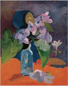 Paul Gauguin, Still Life with Flowers and Idol on ArtStack #paul-gauguin #art