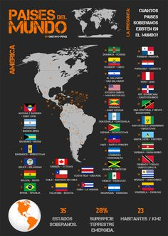 Flags of the World: North, Central, and South America. Map of continents, countries, and their flags. All World Flags, World Country Flags, Geography Map, World Geography, Countries And Flags, Countries Of The World, Map Of Continents, Flags With Names, Asia Map