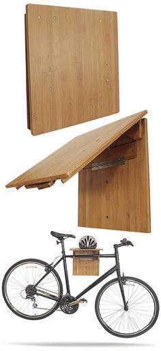 The COR Bamboo Fold-Away #Bike Rack. Space saving eco-friendly minimalist wall…