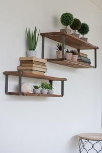 Recycled Wood and Metal Shelves (Set of 2) - Bleu Spruce