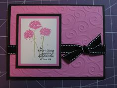 Pink Happy Harmony Thank You by jadoherty - Cards and Paper Crafts at Splitcoaststampers Embossed Cards, Card Making Inspiration, My Stamp, Cool Cards, Flower Cards, Holidays And Events, Stampin Up Cards, Thank You Cards, Greeting Cards