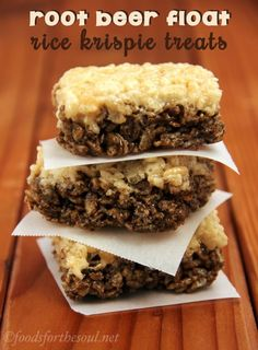 Root Beer Float Rice Krispie Treats | Fun And Tasty Dessert For Kids & Even Adults! by Homemade Recipes at http://homemaderecipes.com/course/breakfast-brunch/rice-krispie-treats/