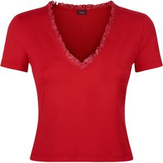 La Perla Essentials V Neck T-Shirt ($297) ❤ liked on Polyvore featuring tops, t-shirts, red, vneck t shirts, red top, v-neck tee, red tee and v neck tee
