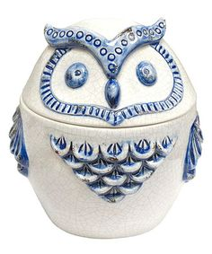 Take a look at this Blue & White Owl Covered Jar by Three Hands Corporation on #zulily today!