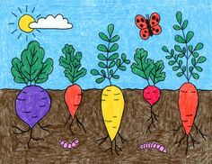 How to Draw Vegetables · Art Projects for Kids Nature Drawing For Kids, Easy Drawings For Kids, Painting For Kids, Diy Art Projects, Drawing Projects, Projects For Kids, Garden Projects, Vegetable Drawing, Vegetable Painting