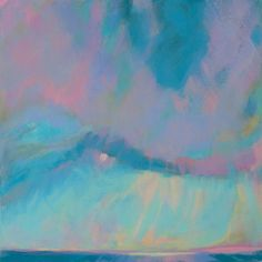 """Abstract landscape painting – 8x8 original canvas – """"Out to Sea"""" 