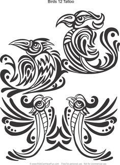 Birds 12 Tattoo Design Coloring Page Kidscanhavefun