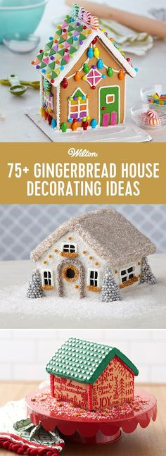 Check out more than 75 different ways to decorate your gingerbread houses! From using candies, sprinkles, to fondant, click to get lots of ideas and inspiration on how to decorate gingerbread houses for the holidays. #gingerbreadhouse #holidays #christmas #wiltoncakes